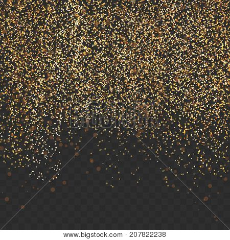 Bright gold shimmer abstract transparent particle mist background. Modern elegant glitter card template. Luxurious golden falling Dust Abstract Background. Shining Motion Luxury Design. Vector illustration