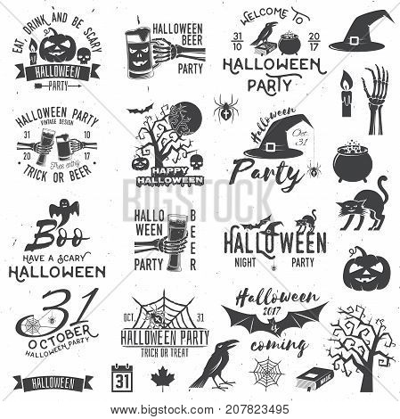Set of Halloween party concept and design elements. Halloween party retro templates, badges, seals, patches. Concept for shirt or logo, print, stamp. Typography design- stock vector.