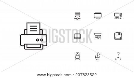 Collection Of PC, Laptop, Printer And Other Elements.  Set Of 10 Computer Outline Icons Set.
