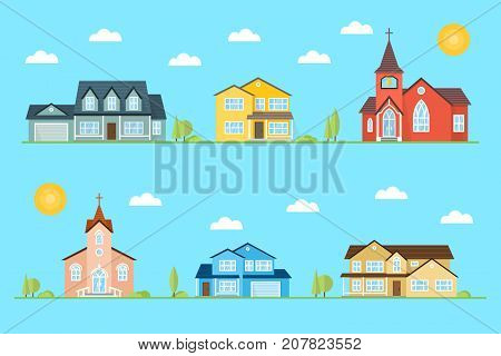 Neighborhood with homes and churches illustrated on the blue background. Vector flat icon suburban american houses day, night. For web design and application interface, also useful for infographics. Vector illustration.