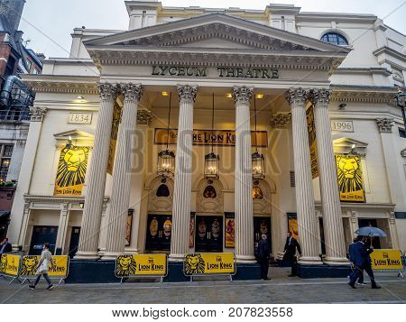 LONDON UK - AUG 2: London's Lyceum Theatre on August 2, 2017 in London England. The Lyceum Theatre is a famous London institution and is playing the Lion King.