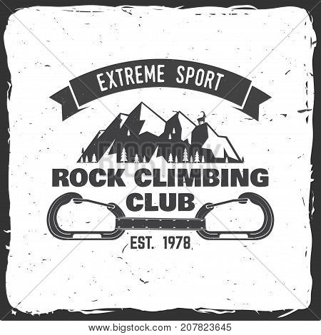 Rock Climbing club badge. Vector. Concept for shirt or logo, print, stamp or tee. Vintage typography design with a straight gate locking carabiner for bolts, Goat and mountain. Outdoors adventure