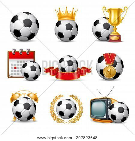 Soccer Ball icon set. Isolated on White Background. Vector Illustration