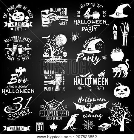 Set of Halloween party concept and design elements on the chalkboard. Halloween party retro templates, badges, seals, patches. Concept for shirt or logo, print, stamp. Typography design- stock vector.