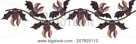 Scalable vectorial image representing a happy bats on rope seamless, isolated on white.