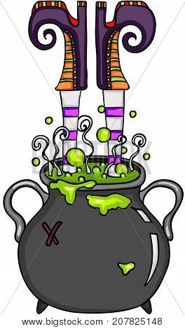 Scalable vectorial image representing a witch upside down in a caldron, isolated on white.
