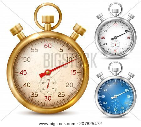 Vintage or classic style stopwatch in shiny metal case. Set of different colored stopwatches. Vector illustration. Isolated on white background.