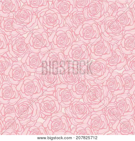 Rose flower seamless pattern. Pink roses on pink background. Stock vector.