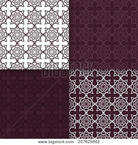 Geometric seamless patterns. Set of maroon backgrounds for wallpapers and fabrics