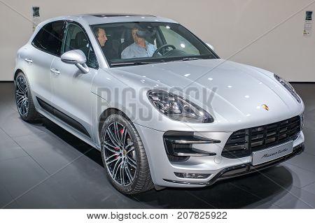 Frankfurt-September 20: Porsche Macan Turbo at the Frankfurt International Motor Show on September 20 2017 in Frankfurt