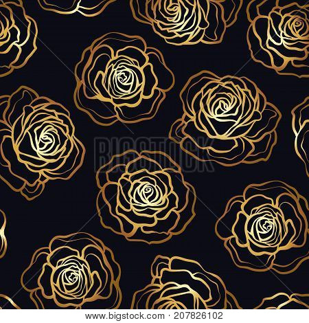 Rose flower seamless pattern. Gold roses on black background. Stock vector.