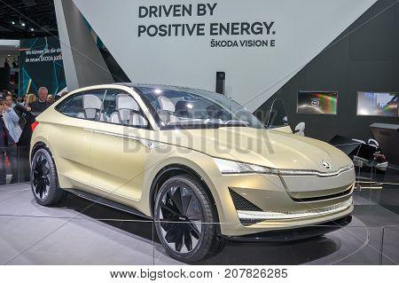 Frankfurt-September 20: Skoda Vision E concept at the Frankfurt International Motor Show on September 20 2017 in Frankfurt