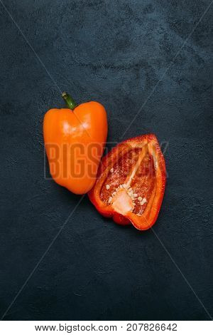 food organic vegetable pepper dark background concept