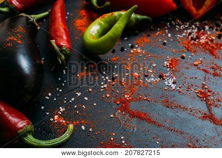 Vegetable food organic pepper eggplant background vegetarian concept