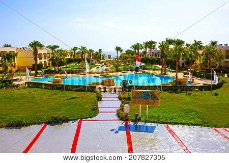 Sharm El Sheikh, Egypt - September 27, 2017: Buildings and Area at Otium Hotel Amphoras Sharm 5 at Sharm El Sheikh, Egypt on September 27, 2017