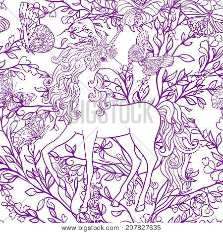 Unicorn with multicolored mane and roses flowers. Seamless pattern in purple colors. Outline hand drawing. Stock vector.