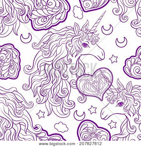 Unicorn with multicolored mane, butterfly rainbow, star and love heart. Seamless pattern. in purple colors. Outline hand drawing. Stock vector.