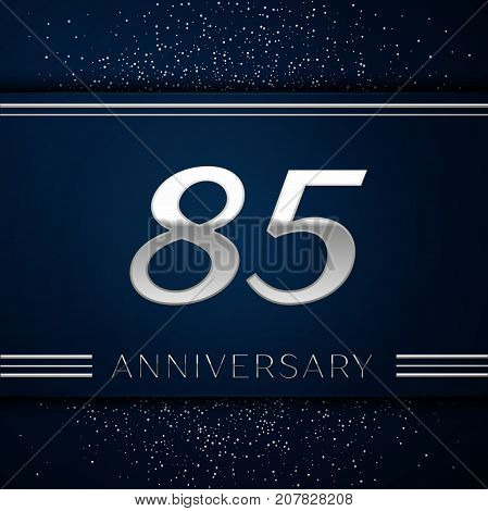 Realistic Eighty five Years Anniversary Celebration Logotype. Silver numbers and silver confetti on blue background. Colorful Vector template elements for your birthday party