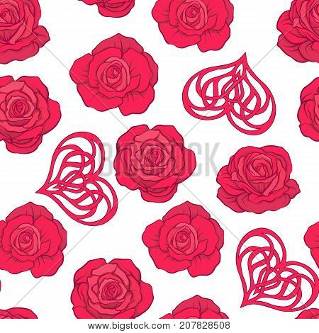 Seamless pattern with red roses and love heart on white background. Stock vector.