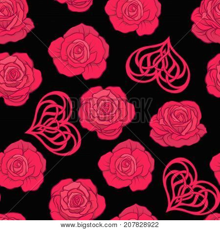 Seamless pattern with red roses and love heart on black background. Stock vector.