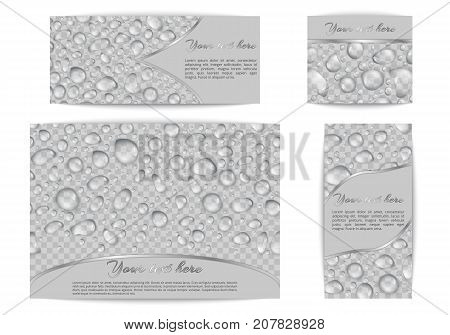 A set of banners of different sizes with translucent drops of dew on a transparent backdrop. Vector background with raindrops and place for text.