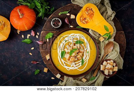 Cream Of Pumpkin Soup With Sour Cream Sauce. Flat Lay. Top View