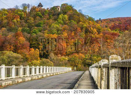 Bridge To Nevytsky Castle Hill In Autumn
