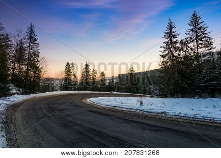 Red Dawn On Serpentine In Winter Forest