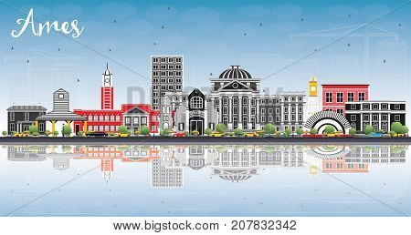 Ames Iowa Skyline with Color Buildings, Blue Sky and Reflections. Business Travel and Tourism Illustration with Historic Architecture.