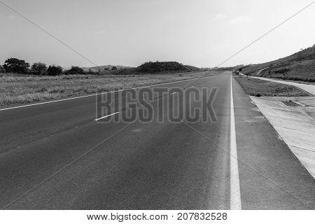 Road Highway Empty Black White Landscape