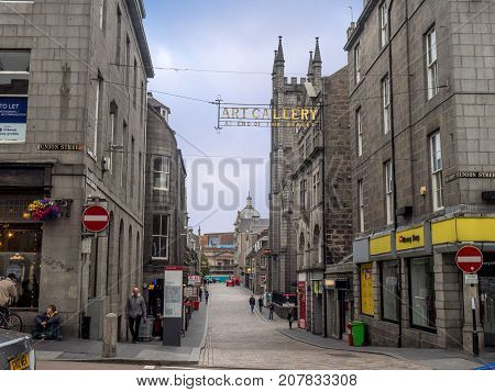 ABERDEEN, SCOTLAND - JULY 24: Popular Belmont Street on July 24, 2017 in Aberdeen, Scotland. Belmont Street in the main part of Aberdeen is filled with bars and restaurants for locals and tourists.