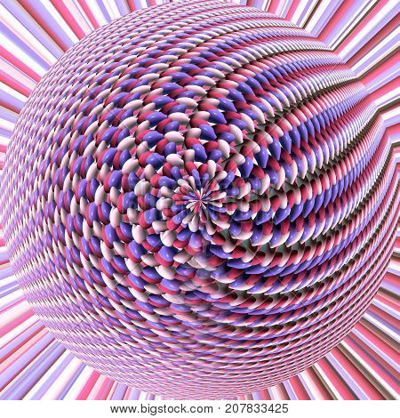Interesing colorful 3d orb fractal growing from background
