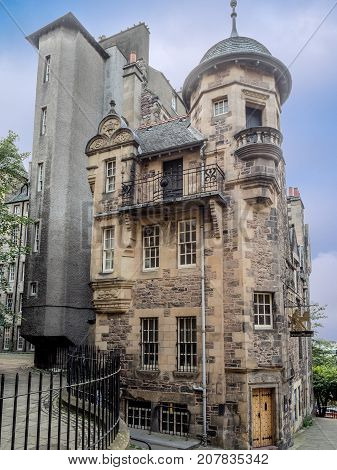 EDINBURGH, SCOTLAND - JULY 28: The Writers Museum on the Royal Mile in the Old Town on July 28, 2017 in Edinburgh Scotland. The Royal Mile is the most popular attraction in Edinburgh.