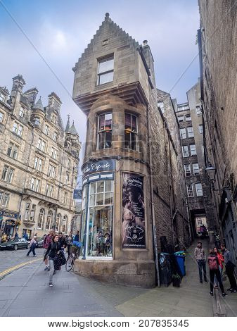EDINBURGH, SCOTLAND - JULY 28: Looking up Cockburn Street towards the Royal Mile on July 28, 2017 in Edinburgh Scotland. The Royal Mile is a popular attraction in Edinburgh and hosts many tourists.