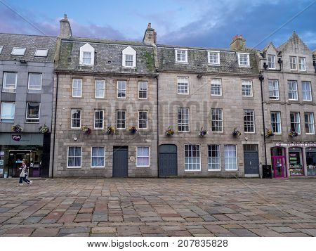 ABERDEEN, SCOTLAND: JULY 25: Buildings on Union Square on July 25, 2017 in Aberdeen, Scotland.  Union Square is the old central square in the city of Aberdeen.