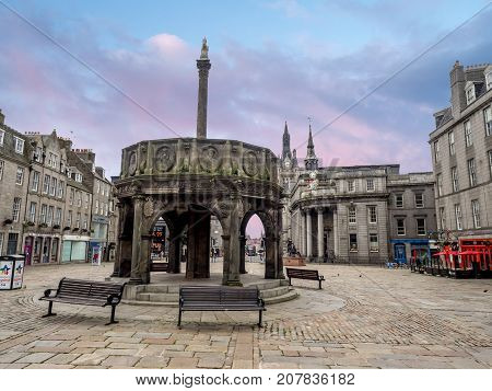 ABERDEEN, SCOTLAND - JULY 24: The Mercat Cross in the main square on July 24, 2017 in Aberdeen, Scotland. The mercat  cross marked the royally sanctioned market location in Scotland.