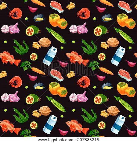 Organic food and seafood seamless pattern vector sketch colorful banner persimmon feijoa sea bass milk carrot garlic walnut salmon steak pea mussel shrimp seaweed