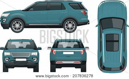 Off-road write car Modern VIP transport. Offroad truck template vector isolated car on white. View front, rear, side, top Change the color in one click All elements in groups