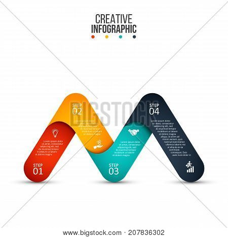 Vector letter M infographic element. Template for diagram, graph, presentation and chart. Business concept with 4 options, parts, steps or processes. Abstract background.