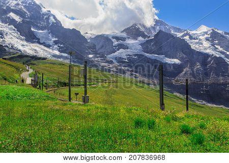 View on Jungfrau mountain (4158m - 13642ft) from Kleine Scheidegg in summer no train. Kleine Scheidegg Bernese Oberland Switzerland