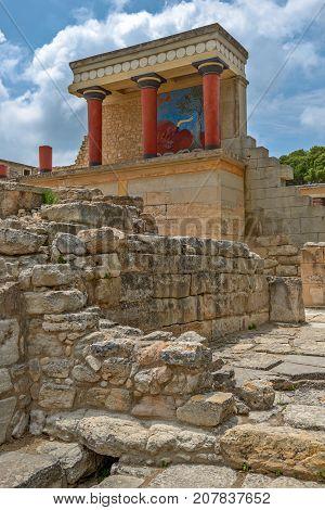 Knossos Palace Archaeological Site On Crete Greece