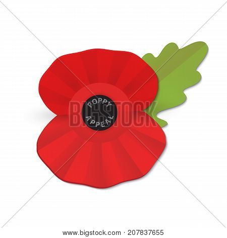 The remembrance poppy - poppy appeal. Modern paper design isolated on white. Decorative vector flower for Remembrance Day, Memorial Day, Anzac Day in New Zealand, Australia, Canada and Great Britain.