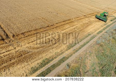 Agriculture Machine Harvesting Crop In Field
