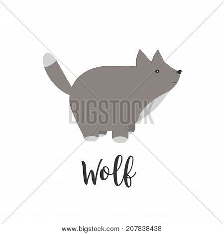 Vector baby animal and hand letters. Greeting card with cute wolf. Vector cartoon illustration of baby animals. Logo, badges, banners, emblem and design elements