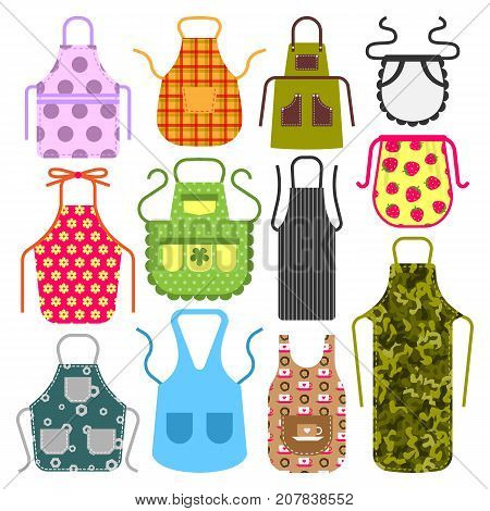Food cooking apron kitchen design clothes housewife uniform chef cook protective textile cotton apparel vector illustration. Baker protection wear accessory fabric clothing.