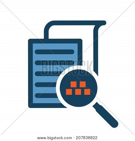 Data analysis with magnifier glass abstract icon. Financial management report concept illustration isolated vector. Transparent