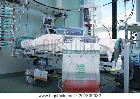 Advance technics in medical science. Modern equipped hospital