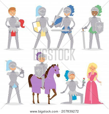 Knight cartoon hero character with horse and princess armor warrior people brave medieval costume soldier vector illustration. Fantasy heroic man with sword.