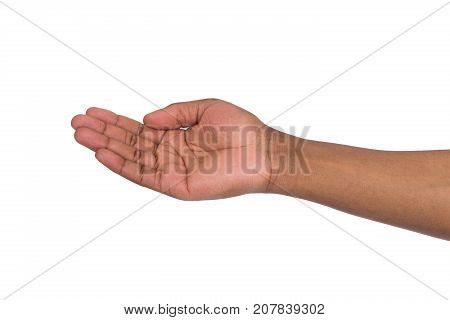 Holding or offering. Outstretched male hand, man keeping empty palm on white isolated background