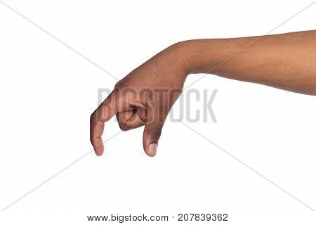 Black male hand measuring invisible items, man's palm making gesture while showing small amount of something on white isolated background